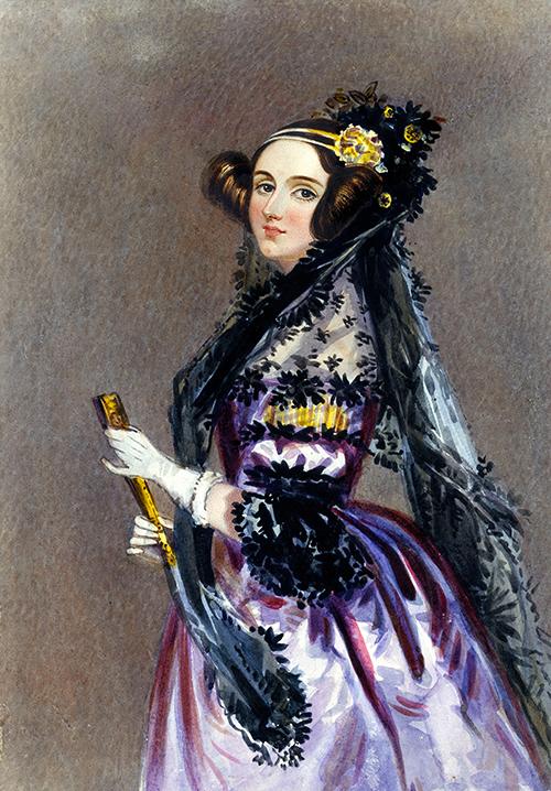 Portrait aquarellé d'Ada Lovelace par Alfred Edward Chalon, vers 1840.